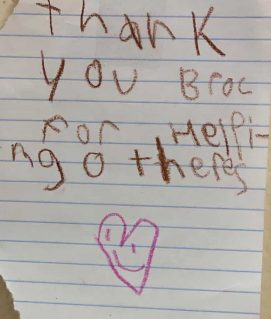 BROC Community Action Thank You Note